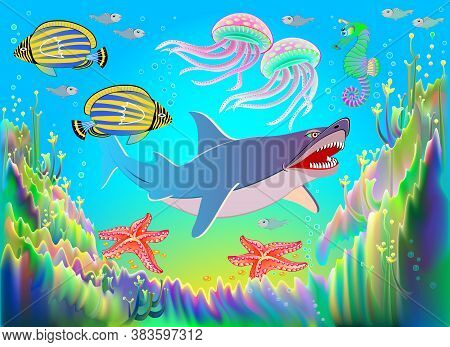 Fantasy Illustration Of Underwater Life With Beautiful Fishes, Shark, Starfish, Seahorses, Seaweed,
