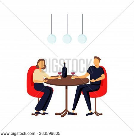 Happy Relaxed People Sitting At Tables In Cafe. Male And Female Characters Drinking Beverages Talkin