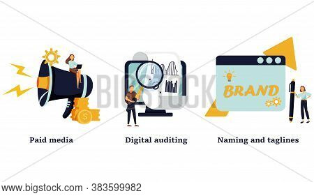 Company Services Icons Set. Marketing Platform, Online Documentation Inspection, Corporate Identity