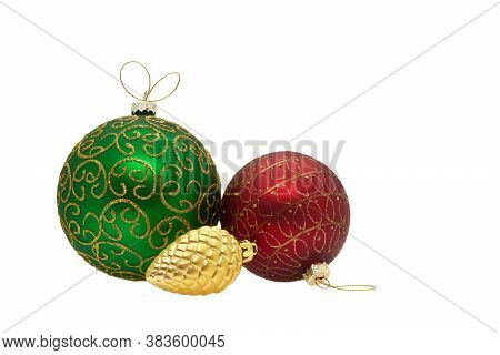 Christmas Balls. New Year's Toys. Christmas Decorations. Isolated, White Background.