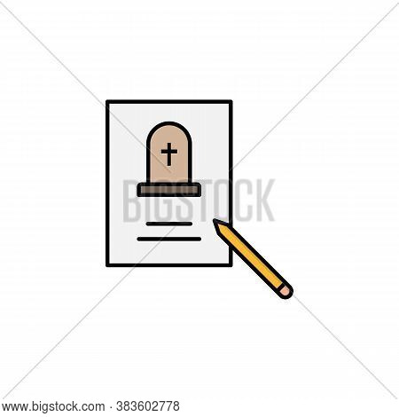 Funeral, Death, Pen, Paper Outline Icon. Detailed Set Of Death Illustrations Icons. Can Be Used For