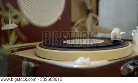 A Vinyl Disc On A Player, The Needle On A Record, Playing Vinyl Disc. Retro Style, Vinyl Recorder Pl