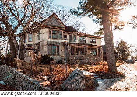 Charlevoix, Mi /usa - March 2nd 2018:  Large House Designed By Earl Young In Charlevoix Michigan