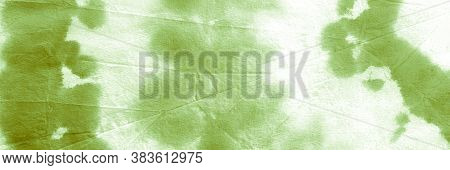 Green Grass Ikad Pattern. Dyed Background. Water Color Paint Fabric. Dirty Art Print. Ikat Design. T