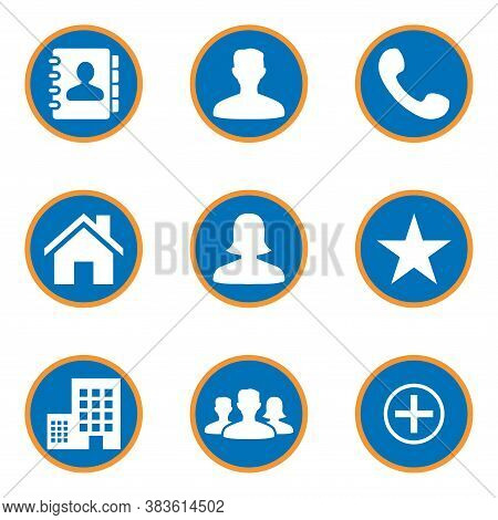Icon Pack On Round Shape. Phonebook Icon, Male Person Icon, Phone Icon, Home Icon, Female Person Ico