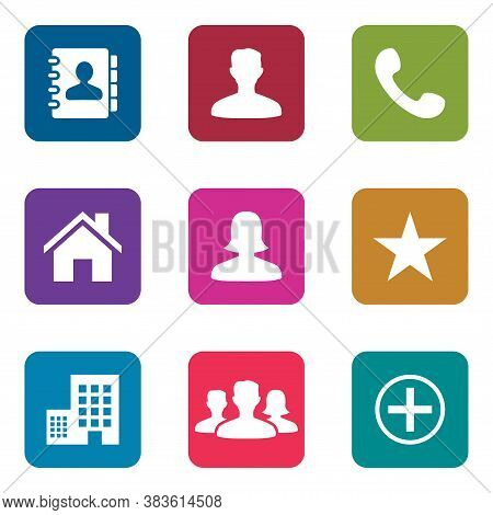 Icon Pack On Square Shape. Phonebook Icon, Male Person Icon, Phone Icon, Home Icon, Female Person Ic