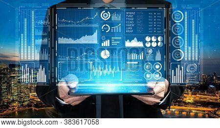 Big Data Technology For Business Finance Analytic Concept. Modern Graphic Interface Shows Massive In
