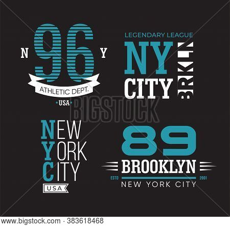 New York And Brooklyn Typography Flat Badges Set. Vintage University Or College Athletic Emblems Vec
