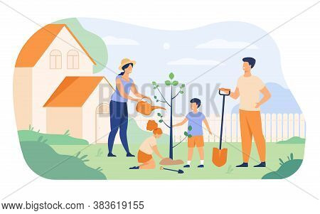 Farmer Family Planting Sapling Near House. Parents Couple And Kids Growing Tree, Doing Garden Work T