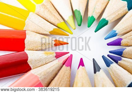 Color Wooden Pencils In Arrange In Color Wheel Colors On White Background