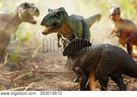 Tyrannosaurus Rex Dinosaurs Is Fighting Triceratop In A Misty Forest. On Nature Background. Closeup