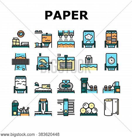 Paper Production Plant Collection Icons Set Vector. Wood Chips And Chemical Recovery, Evaporator And