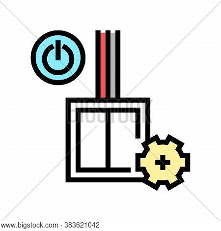 Switch Installation Color Icon Vector. Switch Installation Sign. Isolated Symbol Illustration