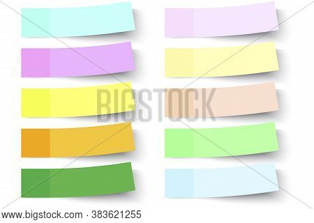 Stickers For Notes. Colored Stickers. Sticky Memo Paper. Empty Colored Rectangles. Vector Illustrati