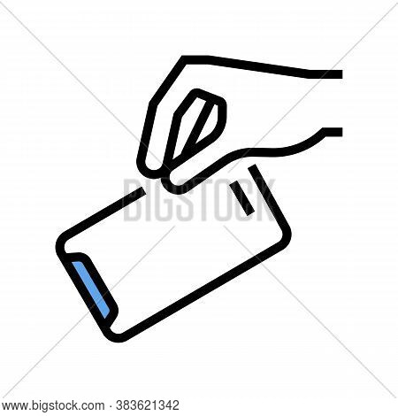 Hand Throw Out Mobile Phone Color Icon Vector. Hand Throw Out Mobile Phone Sign. Isolated Symbol Ill