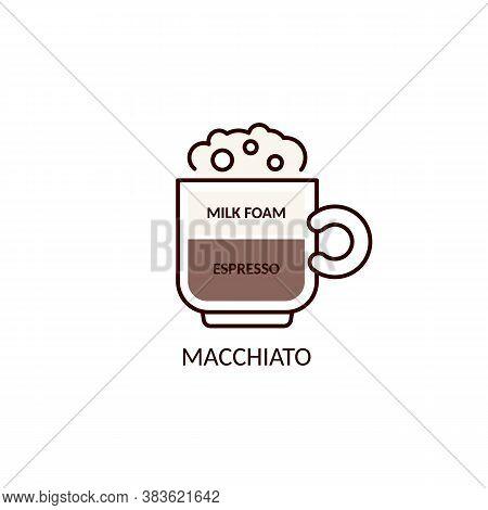 Vector Icon Of Macchiato Coffee On A White Background.