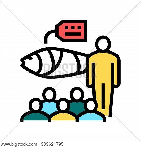 Tuna Auction Market Color Icon Vector. Tuna Auction Market Sign. Isolated Symbol Illustration