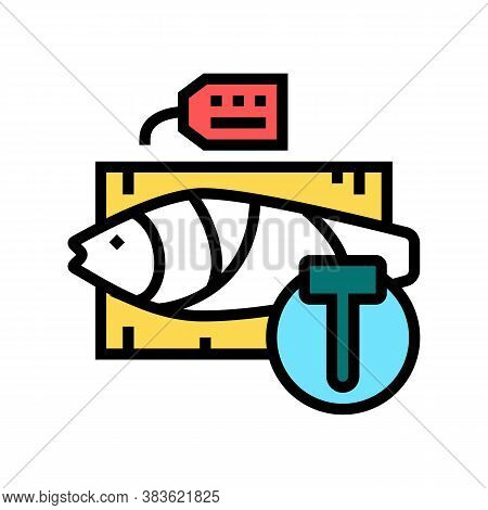 Tuna Fish Auction Rate Color Icon Vector. Tuna Fish Auction Rate Sign. Isolated Symbol Illustration