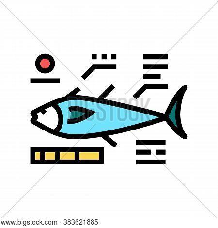 Tuna Fish Characteristics Color Icon Vector. Tuna Fish Characteristics Sign. Isolated Symbol Illustr