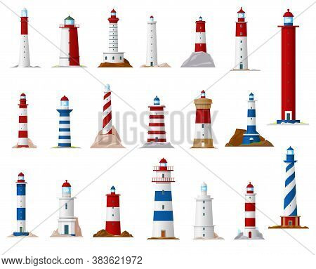 Sea Lighthouse And Beacon Tower Isolated Vector Icons. Nautical Navigation Ocean Coast Light Houses