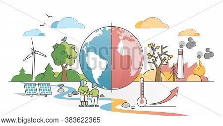 Climate Change With Weather Global Greenhouse Warming Risks Outline Concept. Compared Planet With Re