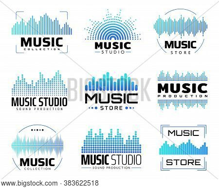 Music Icons With Equalizers, Isolated Vector Symbols With Audio Or Radio Waves Or Sound Frequency Li