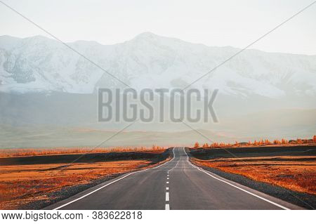 Beautiful Road In Autumn Mountains At Sunset. Chuysky Tract And View Of North-chuya Mountain Ridge I