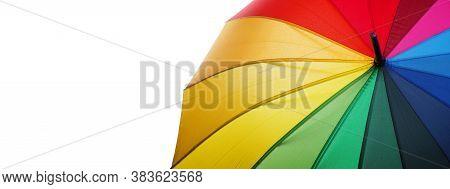 Colors Of Rainbow. Multicolored Umbrella Close-up. Rainbow Umbrella Isolated On A White. Copy Space