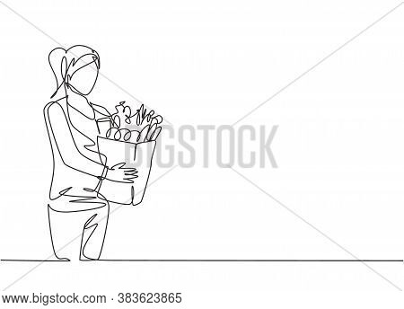 One Single Line Drawing Young Happy Woman Holding Grocery Paper Bag With Fruits, Vegetables, Bread,