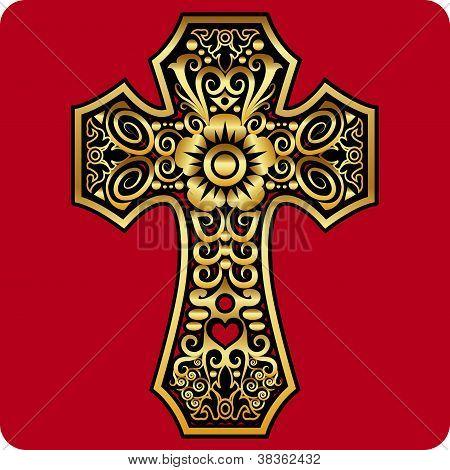 Golden Cross Ornament