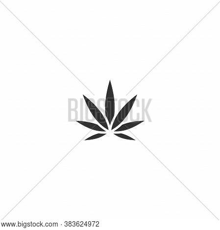 Black Hemp Or Cannabis Leaf Isolated On White. Cbd, Cannabidiol
