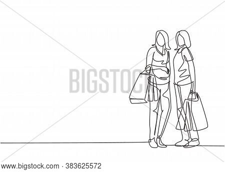 Single Continuous Line Drawing Two Beauty Happy Women Holding Paper Bags After Shopping Clothes, Dre