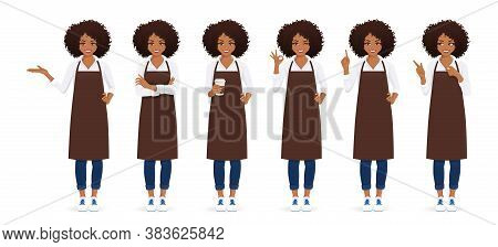 Smiling Woman With Afro Hairstyle In Apron Standing With Different Gestures Isolated Vector Illustra