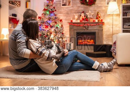 Happy Couple And Their Scottish Fold Enjoying The Warmth Of The Fireplace On Christmas Day.