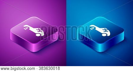 Isometric Broken Car Icon Isolated On Blue And Purple Background. Car Crush. Square Button. Vector I