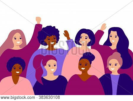 Happy Group Female Of Different Ethnicity. International Womens Day. Women Empowerment Movement, Fri
