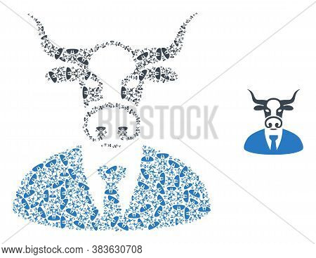 Vector Cow Boss Collage Is Created Of Repeating Recursive Cow Boss Pictograms. Recursive Collage For