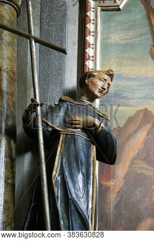 GORNJI MIKLOUS, CROATIA - SEPTEMBER 26, 2011: St. Ignatius statue at St. Michael's Altar at St. Nicholas Church in Gornji Miklous, Croatia