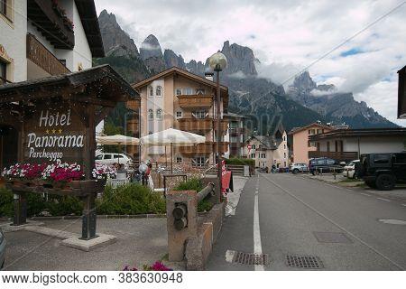 San Martino Di Castrozza, Italy - July 20, 2020: Panoramic View Of San Martino Di Castrozza, A Famou