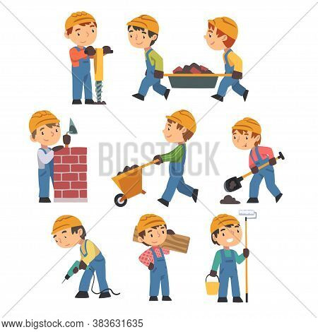 Little Builders With Professional Tools Set, Boy Construction Workers Characters Wearing Blue Overal