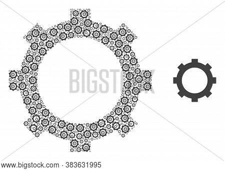 Vector Cog Collage Is Composed Of Scattered Self Cog Elements. Recursion Collage Of Cog.