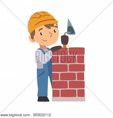 Boy Construction Worker Laying Bricks In Wall With Trowel, Cute Little Builder Character Wearing Blu