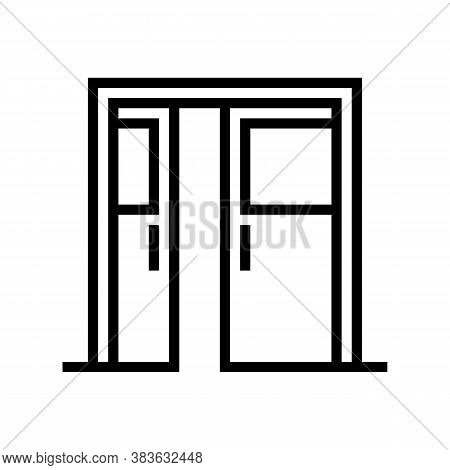 Sliding Double Door Line Icon Vector. Sliding Double Door Sign. Isolated Contour Symbol Black Illust