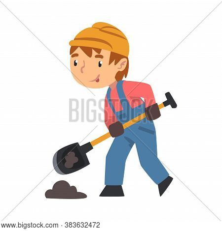 Boy Construction Worker Digging With Shovel, Cute Little Builder Character Wearing Blue Overalls And