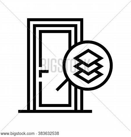 Medium Density Fibreboard Material Door Line Icon Vector. Medium Density Fibreboard Material Door Si