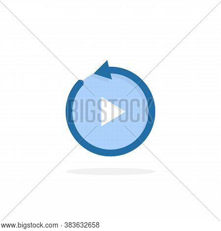 Blue Replay Icon Isolated On White. Concept Of Repeating Track Or Video Clip Like Repeated Listening