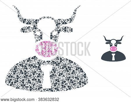 Vector Cow Boss Composition Is Done From Scattered Recursive Cow Boss Parts. Recursive Collage From