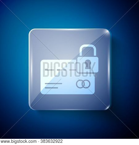 White Credit Card With Lock Icon Isolated On Blue Background. Locked Bank Card. Security, Safety, Pr