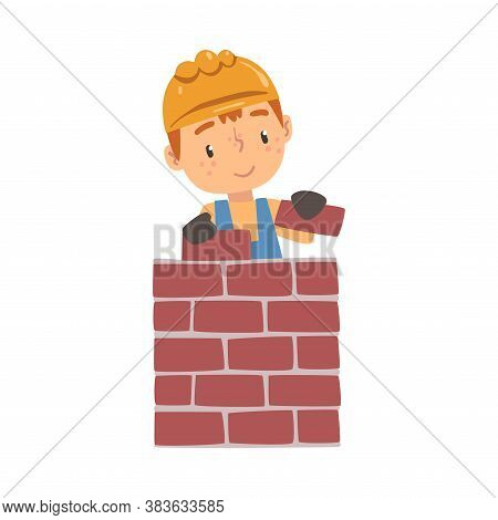 Boy Construction Worker Laying Bricks In Wall, Cute Little Builder Character Wearing Blue Overalls A