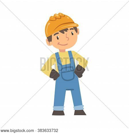 Boy Construction Worker, Cute Little Builder Character Wearing Blue Overalls And Hard Hat Cartoon St